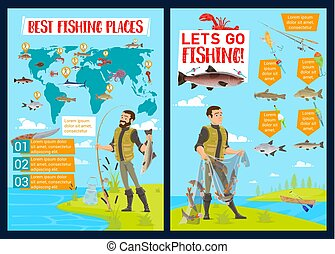 Fishing sport fish catch infographic with charts