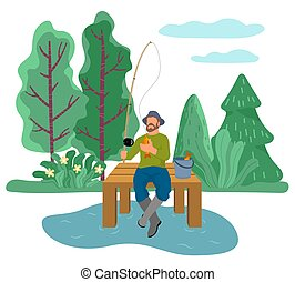 Fishing Sport, Fisherman at River Catching Fish