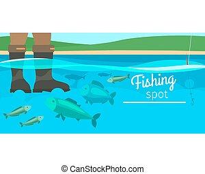 Fishing sport horizontal banner