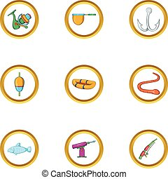Fishing sport icon set, cartoon style