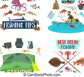 Fishing sport icons with fisherman, fish and boat