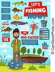 Fishing sport infographic, fisherman and fish