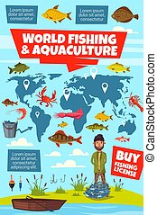 Fishing sport infographic with fisheries world map