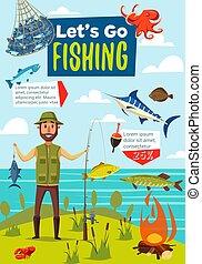 Fishing sport poster, fish and fisherman
