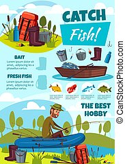 Fishing sport poster with fisherman, equipment