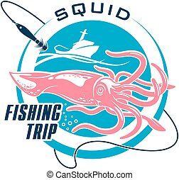 Fishing sport round symbol design