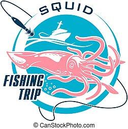 Fishing sport round symbol design