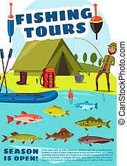 Fishing sport tours with camping, vector