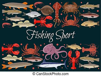 Fishing sport vector seafood poster of fresh fish