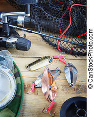 Fishing still life with fishing lures
