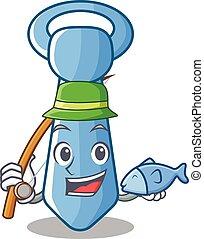 Fishing striped male necktie icon in cartoon vector...