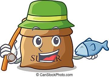 Fishing sugar that burlap sack on mascot