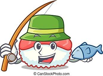 Fishing sushi salmon mascot cartoon