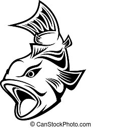 Fish as a fishing symbol isolated on white