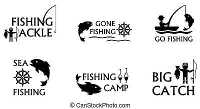 fishing symbols set - set of isolated icons on white...