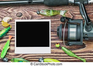 fishing tackle and photoframe