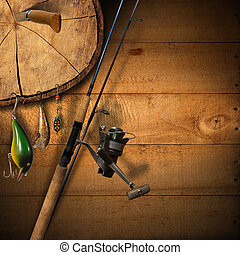 Fishing Tackle Background - Wooden background with fishing...