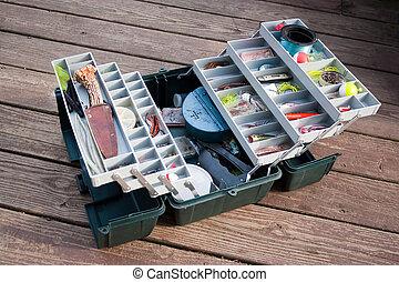 Fishing Tackle Box - A large fishermans tackle box fully ...
