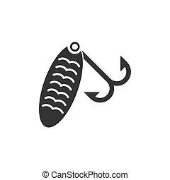 Fishing tackle icon flat - Fishing tackle. Black Icon Flat...