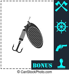 Fishing tackle icon flat. Simple vector symbol and bonus...