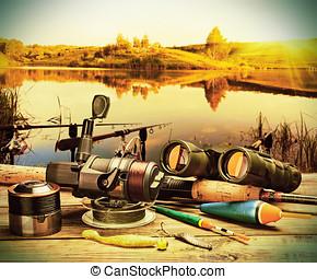 fishing tackle on a pontoon