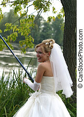 Fishing tackle - The beautiful bride with fishing tackle