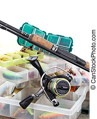 fishing tackles and lures in box