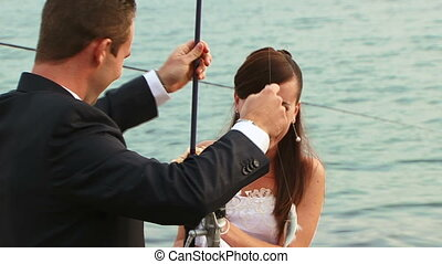 Fishing - The bride and groom on fishing.