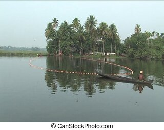 Muthoot River - Fishing the Muthoot River by nets