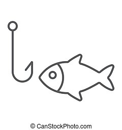 Fishing thin line icon, animal and underwater, hook sign vector graphics, a linear pattern on a white background, eps 10.