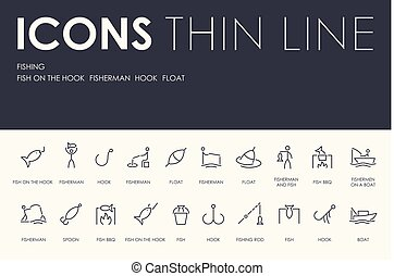 FISHING Thin Line Icons - Set of FISHING Thin Line Vector...
