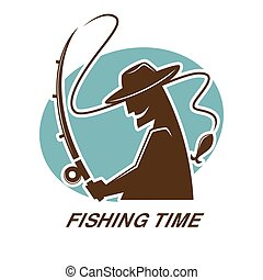Fishing time icon for fisherman club or fishery sport resort...