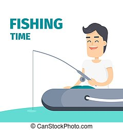Fishing Time Vector Concept with Fisherman on Boat - Fishing...