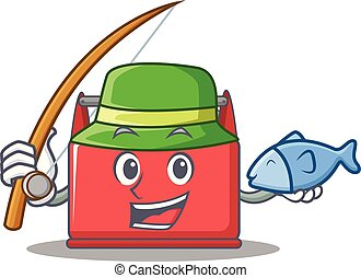Fishing tool box character cartoon