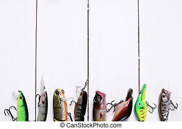 Fishing tools and accessories on the table
