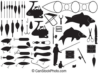 Fishing tools - Illustration of fishing tools isolated on...