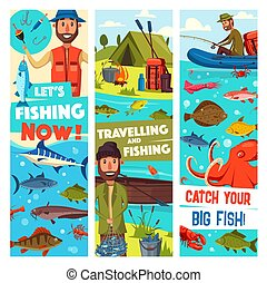 Fishing travel sport and fish catch vector banners