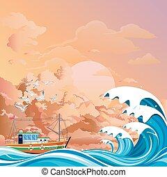 Fishing trawler boat at sea at dawn