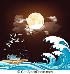 Fishing trawler boat at sea at night