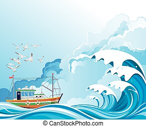 Fishing trawler boat at sea