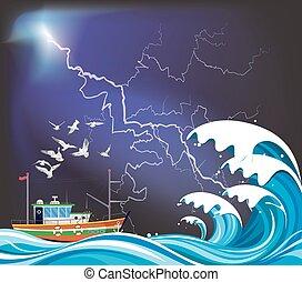 Fishing trawler boat at sea
