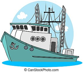 Fishing Trawler - This illustration depicts a green colored ...