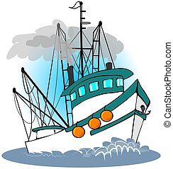 This illustration depicts a teal colored fishing trawler at full speed ahead.