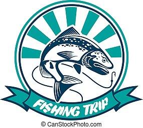 Fishing trip, fisherman sport club badge