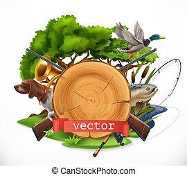 fishing., vecteur, emblème, chasse, 3d