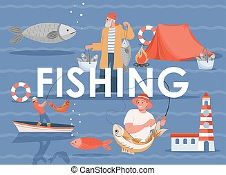 Fishing vector flat banner template with text space. Summer vacation or weekend, fishing sport poster concept.