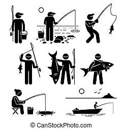 Human pictogram stick figures showing a man fishing on various places and he is enjoying this recreational pursuit.