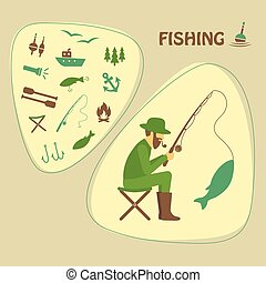 fishing vector illustration, fisher