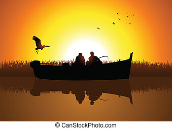 Fishing - Vector illustration of two men silhouette fishing ...