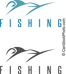 fishing vector illustration set with outline marlin